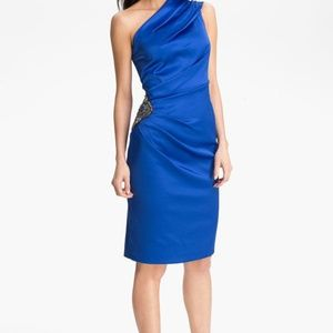 Eliza JBeaded One-Shoulder Satin Dress cobalt Sz 8